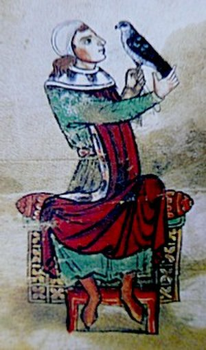 Manfred, King of Sicily - Manfred holding a falcon from the 13th-century De arte venandi cum avibus