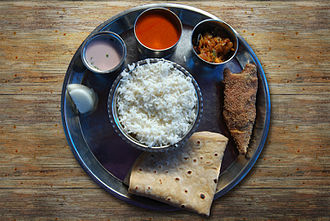 Curry - A Maharastrian thali with solkadhi, a type of curry usually eaten with rice