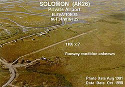 A picture of the airport at Solomon, Alaska.