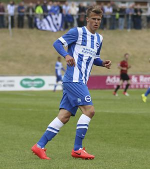 Solly March - March playing for Brighton & Hove Albion in a Pre-season friendly away against Lewes F.C. in 2014.