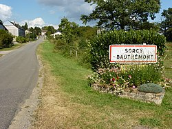 Sorcy-Bauthémont (Ardennes) city limit sign.JPG