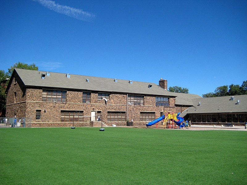 File:South Beaver School - playground and rear of building.jpg