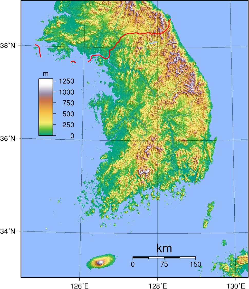 South Korea Topography