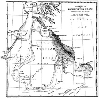 Southampton Island -  George Comer, 1910 map of Southampton
