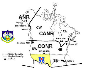 Southwest Air Defense Sector - SWADS Region shown in NORAD Region/Sector Configuration, 1987–2005