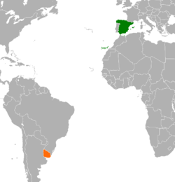 Map indicating locations of Spain and Uruguay