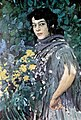 Spanish lady with bucquet of yellow flowers by A.Golovin (1911).jpg