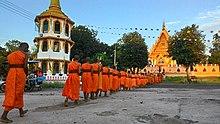 Spacer pokoju mnicha buddyjskiego