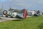 Spitfire IX 'PV181' and Spitfire XVI 'RW386'. 2017 Sola Airshow (42513132212).jpg