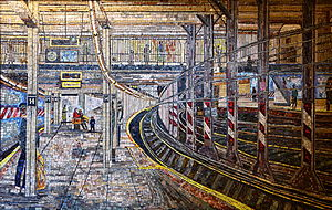 Spring Street (IND Eighth Avenue Line) - Mosaic depicting the 14th Street – Union Square station's platform at the entrance to Spring Street station