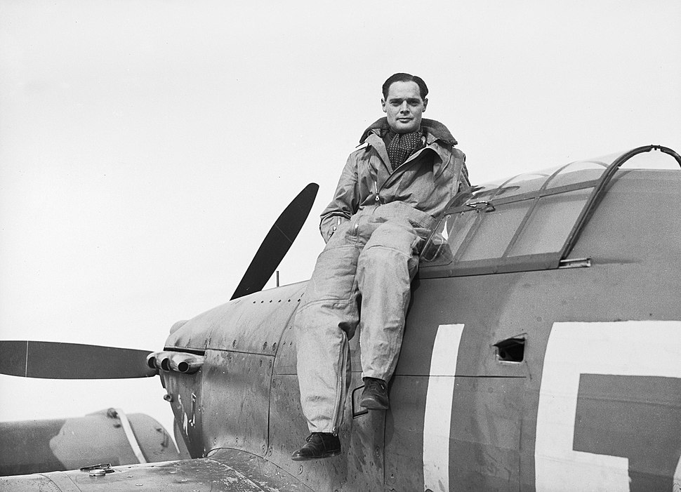 Squadron Leader Douglas Bader, CO of No. 242 Squadron, seated on his Hawker Hurricane at Duxford, September 1940. CH1406