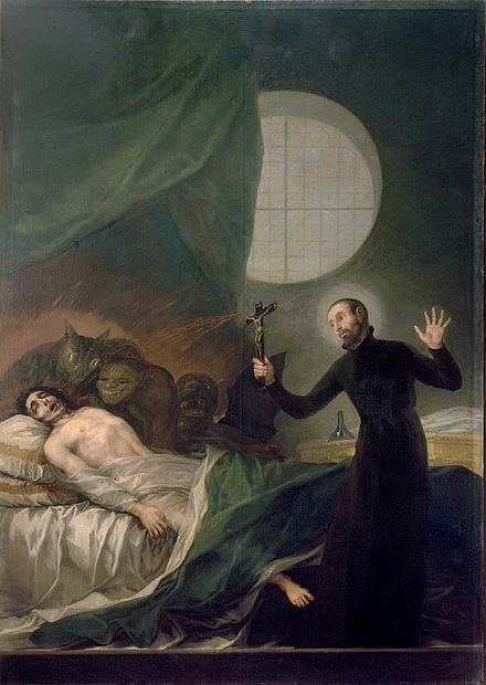 Saint Francis Borgia, depicted performing an exorcism, served as the third Superior General. St. Francis Borgia Helping a Dying Impenitent by Goya.jpg