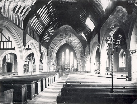 Church interior with gas torchieres (Reading, England, c. 1875) St. Mary's Church, Reading, Interior, c. 1875.jpg