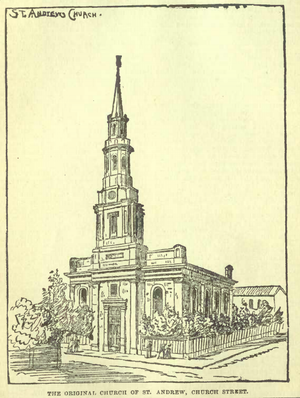 St. Andrew's Church (Toronto) - The first church, at the corner of Church Street and Adelaide Street