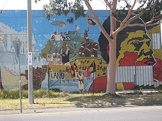 Registered Aboriginal Party - Aboriginal mural at Aborigines Advancement League on St Georges Road Thirnbury, Victoria, Australia