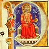 St Stephen on the throne - Initial from the Képes Krónika