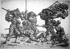 Standard bearer fighting against five landsknechts