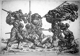 Landsknecht - Standard bearer fighting against five Landsknechte; etching by Daniel Hopfer