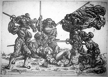 Standard bearer fighting against five Landsknechte; etching by Daniel Hopfer Standard bearer fighting against five landsknechts.jpg