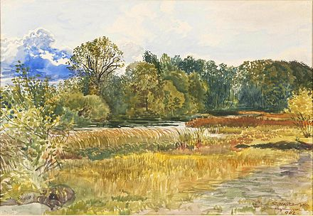 Autumn landscape in Rybiniszki, Latvia, watercolor by Stanislaw Maslowski, 1902 (National Museum in Warsaw, Poland) Stanislaw Maslowski (1853-1926), Autumn landscape in Rybiniszki, 1902.jpeg
