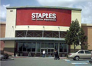 A typical Staples office supply store, in Onta...