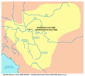 Starčevo culture - Map showing territorial extent of the Starčevo culture