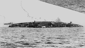 Indefatigable-class battlecruiser - Australia sinking after being scuttled in 1924
