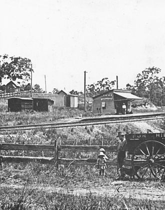 Beerburrum, Queensland - Looking towards the railway station, Beerburrum, 1916