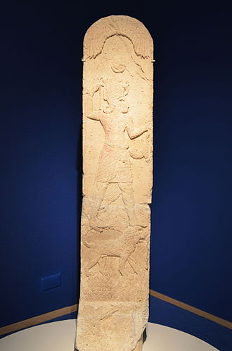 Melqart - Stela with Melqart on his lion from Amrit in Syria, c. 550 BC