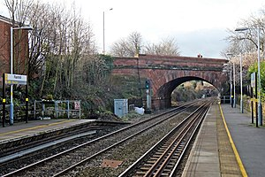 Rainhill railway station - Image: Stephensons bridge, Rainhill railway station (geograph 3819265)