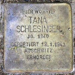 Photo of Tana Schlesinger brass plaque