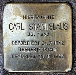 Photo of Carl Stanislaus brass plaque