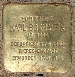 Photo of Karl Bornstein brass plaque