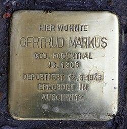 Photo of Gertrud Markus brass plaque