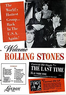 A black and white trade ad for the 1965 Rolling Stones' North American tour. The members of the band are sitting on a staircase with either their hands clasped or arms folded, looking at the camera. From left: The front row contains Brian Jones, Bill Wyman; the second row contains Charlie Watts and Keith Richards; the third (and final) row contains Mick Jagger.