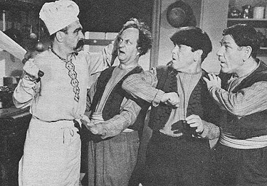 A thinner Curly (with a full head of hair and false handlebar mustache) as the Chef in Malice in the Palace. His scene was deleted from the final release. Stooges malice palace curly scene.jpg