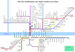Trams in Frankfurt am Main - Network map of the current tramlines (except the Ebbelwei-Expreß)