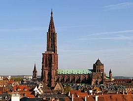 Strasbourg Cathedral towering above the Old Town
