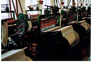 Power loom -  A Northrop loom manufactured by Draper Corporation in the textile museum, Lowell, Massachusetts.