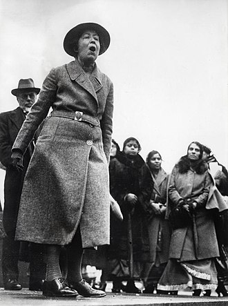 Sylvia Pankhurst - Pankhurst protesting in Trafalgar Square, London, against British policy in India, 1932.