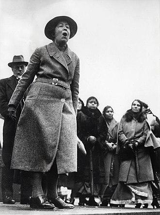 Sylvia Pankhurst - Pankhurst protesting in Trafalgar Square, London, against British policy in India, 1932.