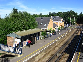 Sunningdale railway station - Sunningdale Railway station as seen from the bridge above the platforms in the direction of Virginia Water