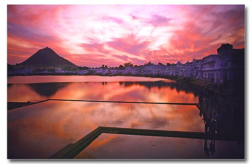 Sunset over Pushkar lake, Rajasthan