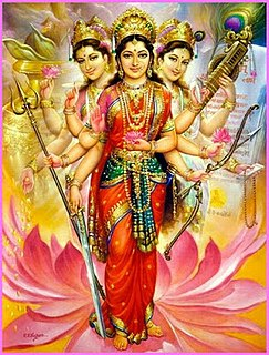 Tridevi Hindu combining of three goddesses into one