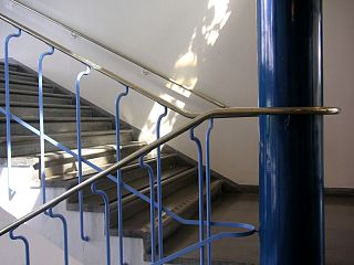 Handrail Rail that is designed to be grasped by the hand so as to provide stability or support