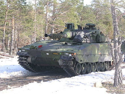 The Infantry fighting vehicle CV 90 produced and used by Sweden.