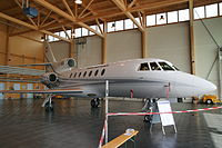 Swiss Air Force Dassault Falcon 50 T-783 in its hangar at Belp.jpg