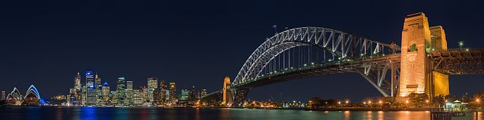Sydney Harbour, with the city skyline and Harbour Bridge, viewed from Kiribilli at night