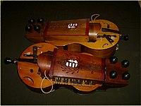 Two Hungarian-style hurdy gurdies (tekerőlants) made by Béla Szerényi