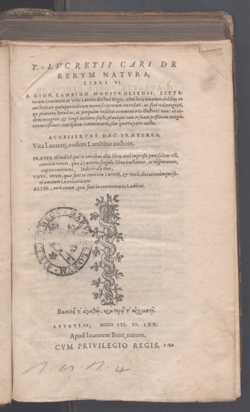T. Lucretii Cari De rerum natura